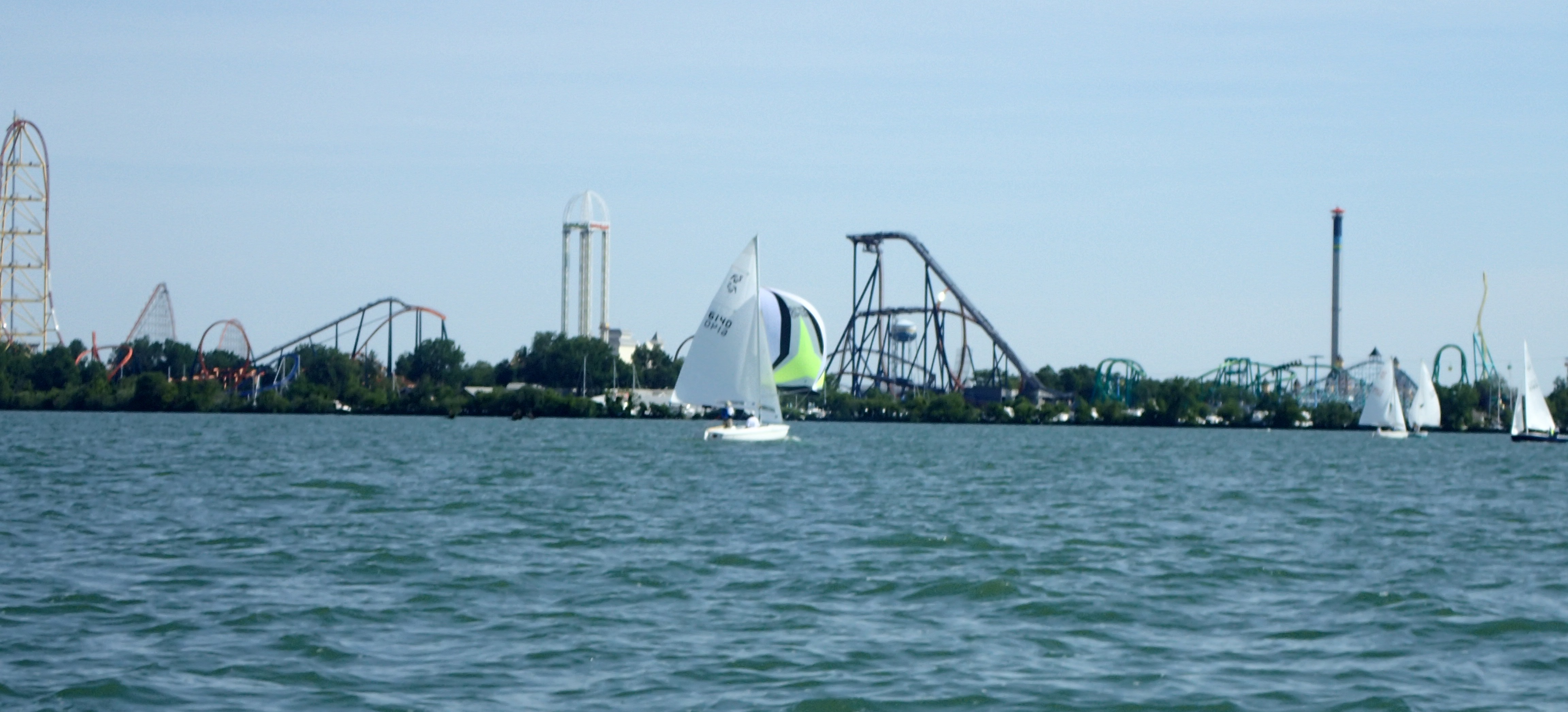 It Was Really Cool Sailing With Cedar Point Right In The Background It Is  Hard To Believe That Some People Who Race Sailboats And Hang Over The Side  Hiking